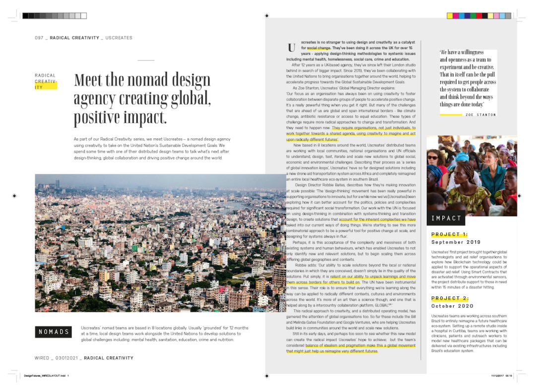 Fictional magazine article exploring how Uscreates' business model may evolve in the future, and scale design's impact