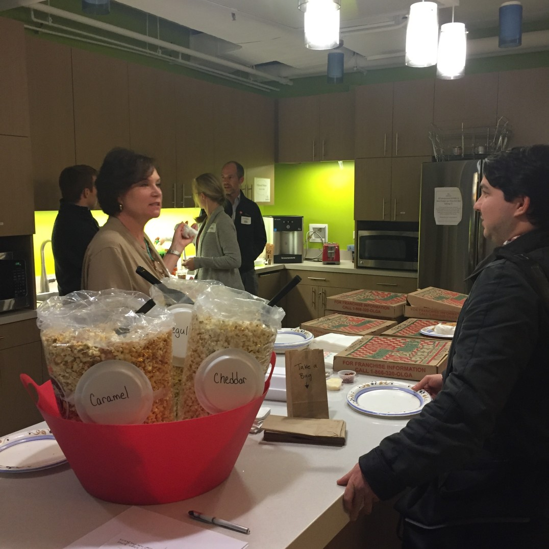 Discussing all things service design over popcorn, pizza and soda