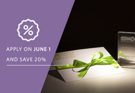 Get 20% off your Service Design Award submision on June 1, Service Design Day!