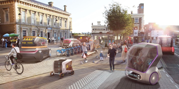 Driverless Futures: A future interchange based around a variety of driverless vehicles by designers and researchers from The Helen Hamlyn Centre for Design and the Intelligent Mobility Design Centre