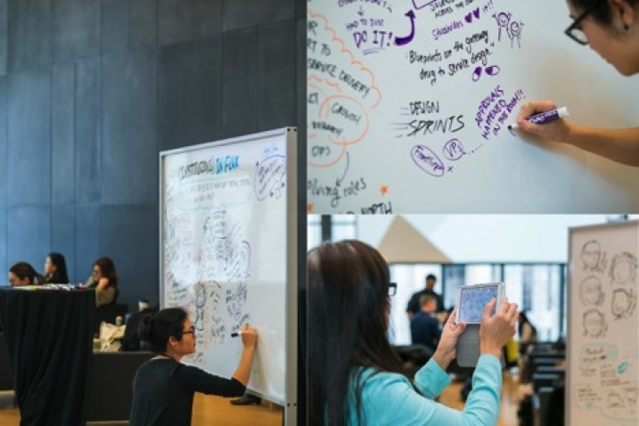 Systems designer Jessica Fan captured the all of the presentations and panel discussions in real-time, providing a visual summary of the ideas and themes of the day on massive rolling whiteboards that attendees explored, photographed and posted to social media.