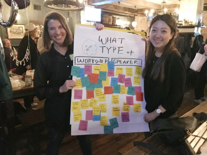 Natalie and Kathleen wrapping up their first event at a local bar in April 2018